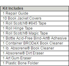 Standard Book Repair Kit - What is Included in the Repair Kits